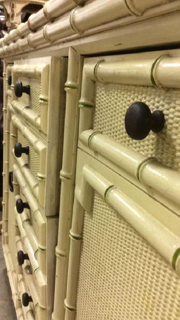 Bamboo Styled Cream Toned Bar Cabinet - 7
