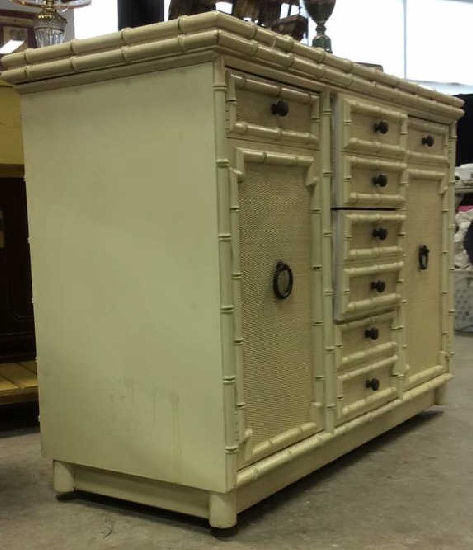 Bamboo Styled Cream Toned Bar Cabinet - 8