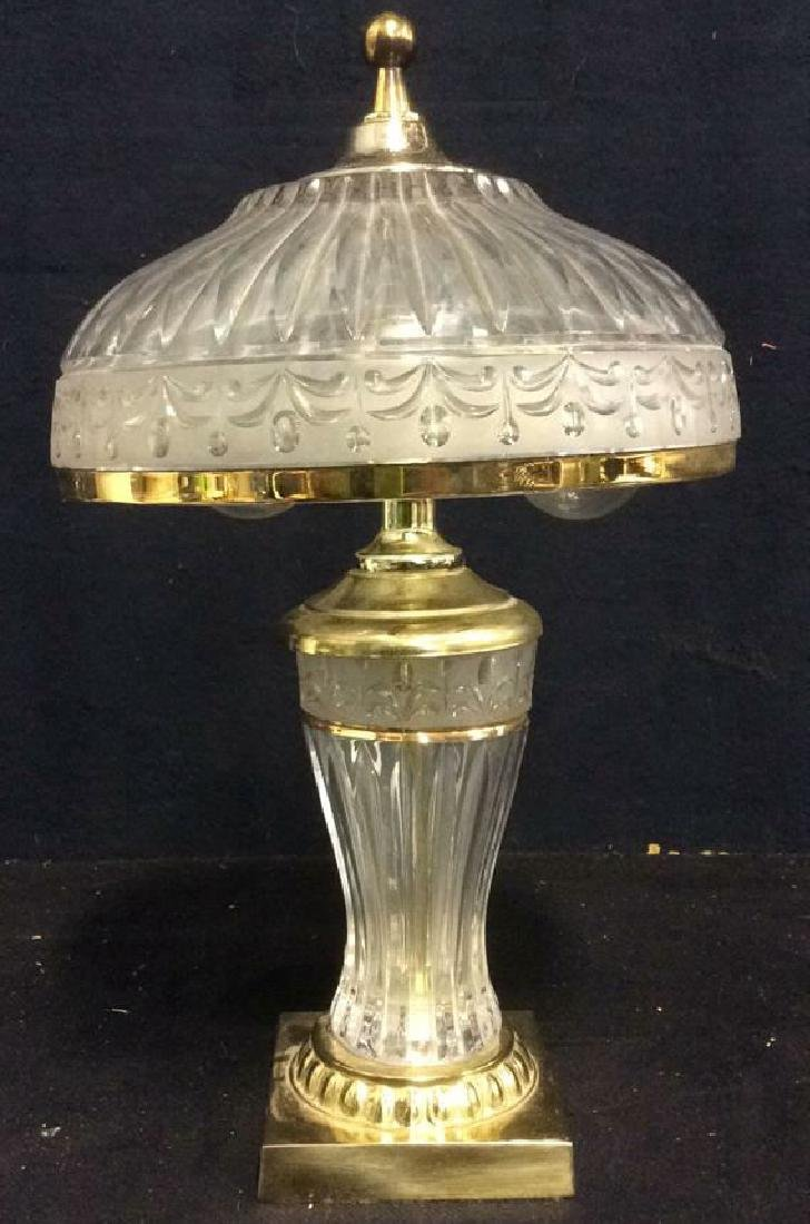 Frosted Glass Lamp W Gold Toned Trim