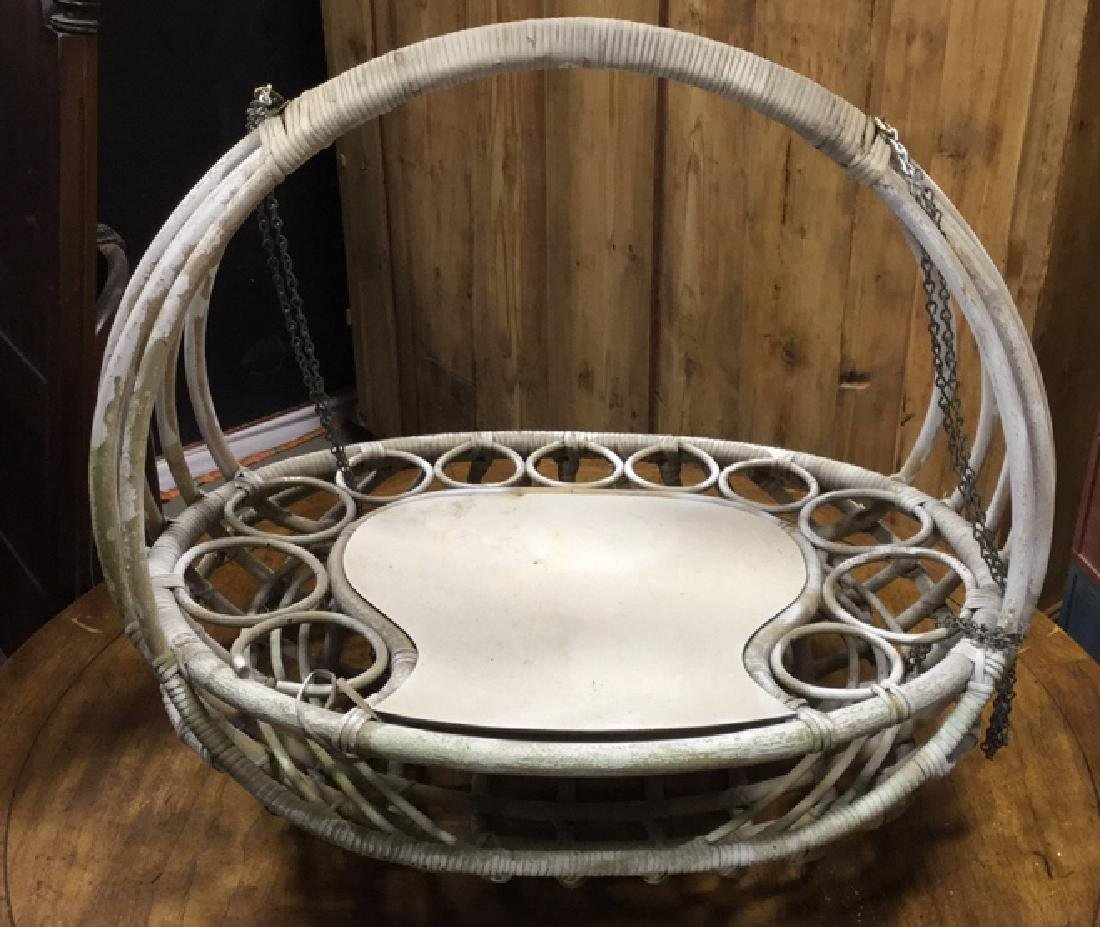 Vintage Hanging Wicker Planter Display - 6