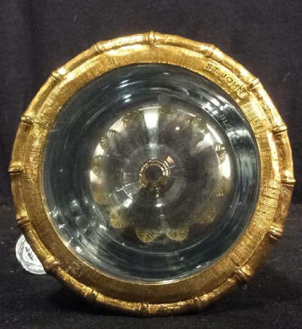 ST. JOHN Glass Pitcher W Decorative Leaf Base - 10