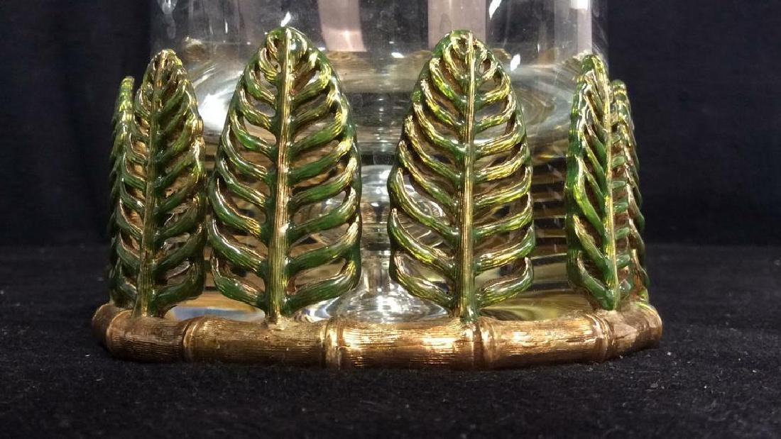 ST. JOHN Glass Pitcher W Decorative Leaf Base - 4