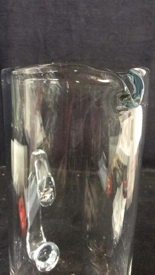 ST. JOHN Glass Pitcher W Decorative Leaf Base - 6