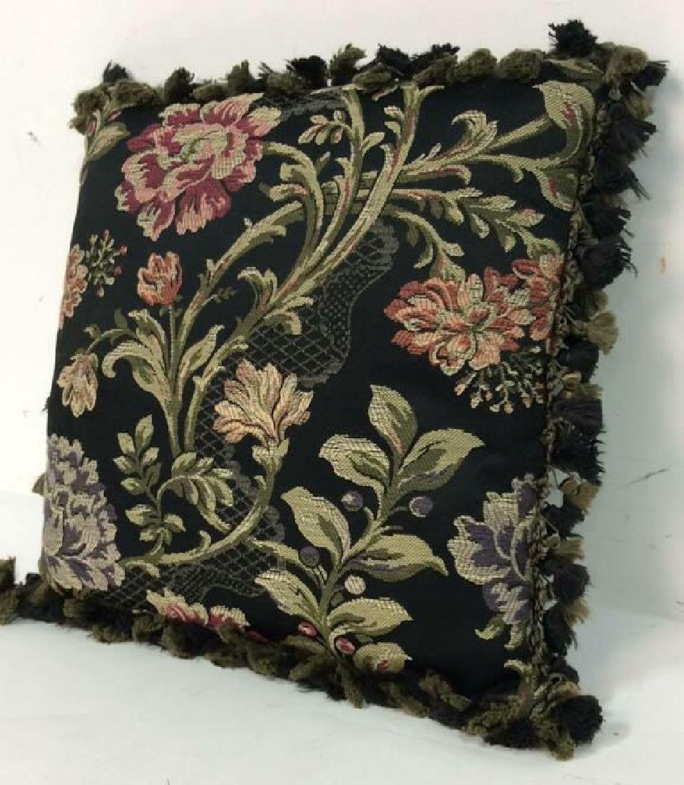 Embroidered Floral Throw Pillow - 2