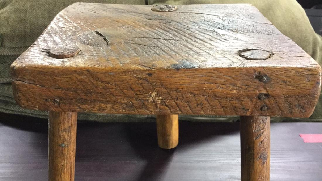 Hand Crafted Antique Wood Footstool - 7