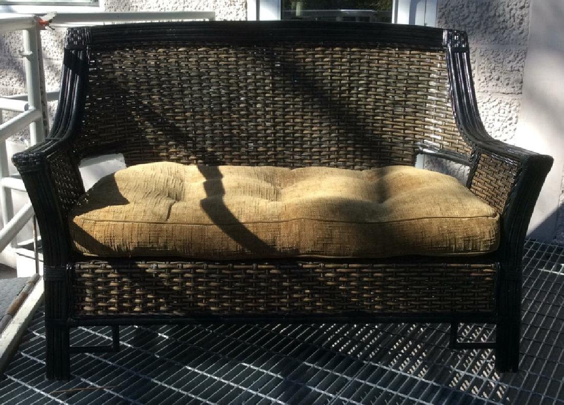 Indoor/Outdoor Woven Loveseat Bench W Cushion