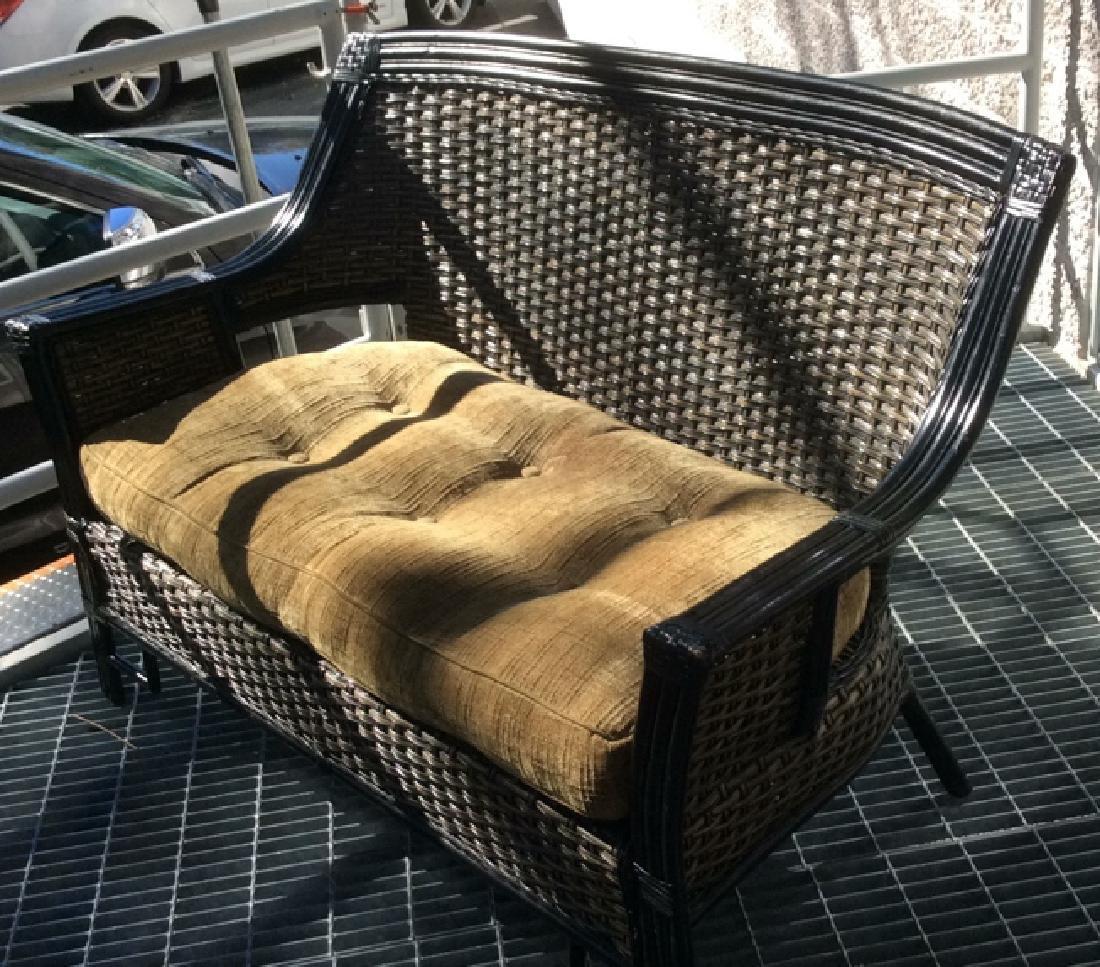 Indoor/Outdoor Woven Loveseat Bench W Cushion - 2
