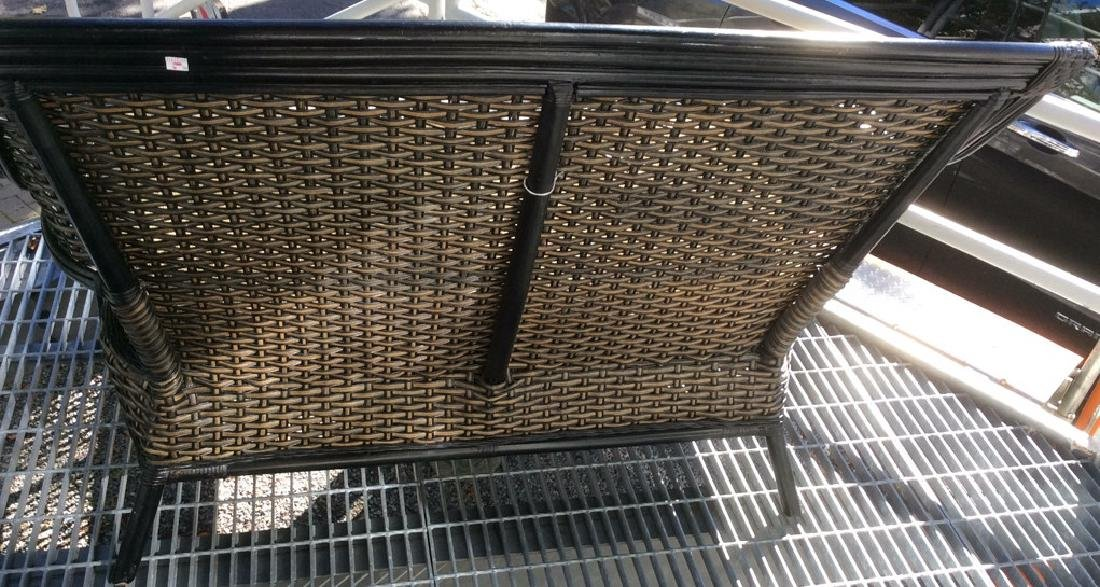 Indoor/Outdoor Woven Loveseat Bench W Cushion - 4
