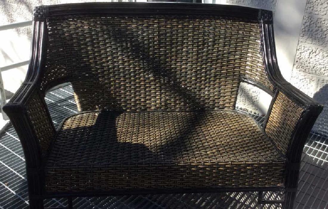 Indoor/Outdoor Woven Loveseat Bench W Cushion - 8