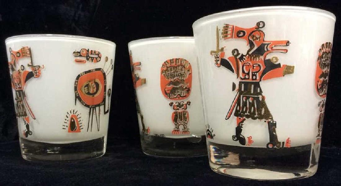 Lot 3 Vintage Painted Drinking Glasses