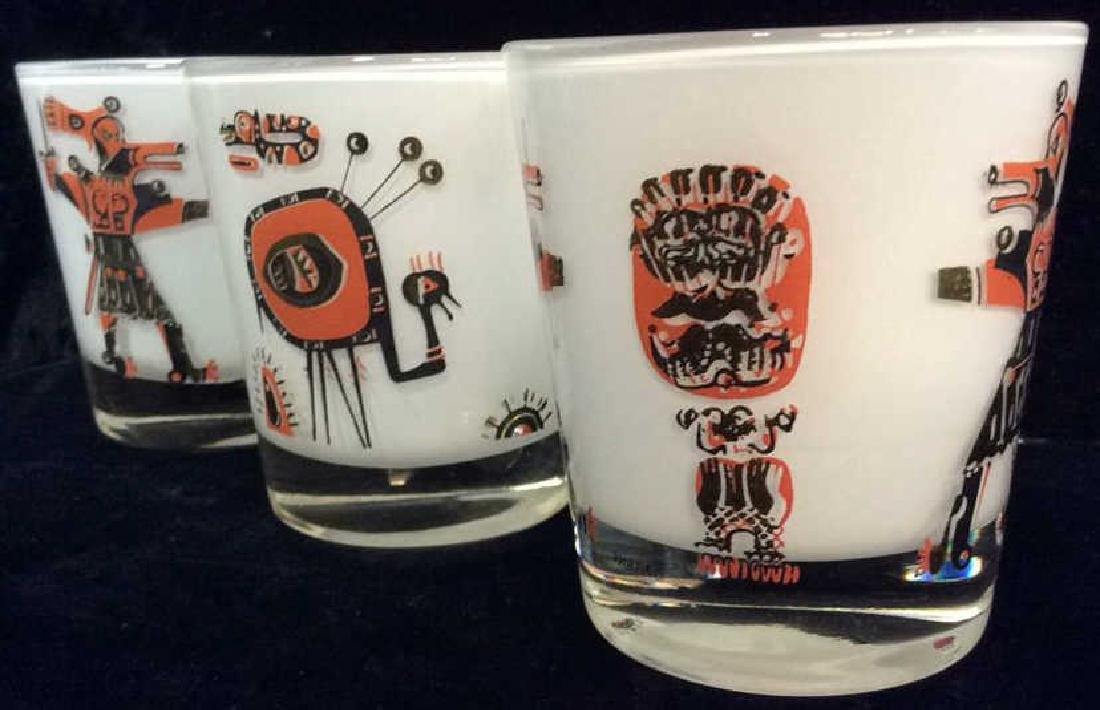 Lot 3 Vintage Painted Drinking Glasses - 2