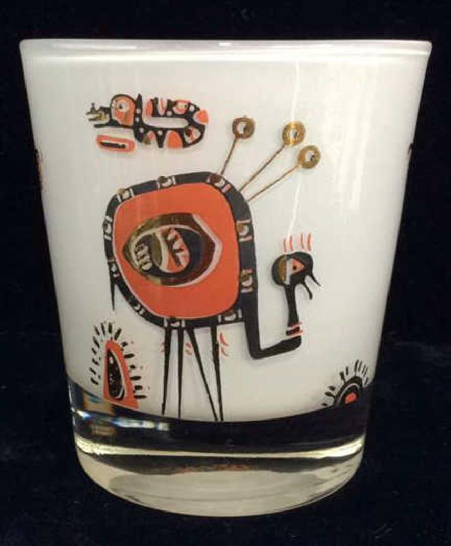 Lot 3 Vintage Painted Drinking Glasses - 5