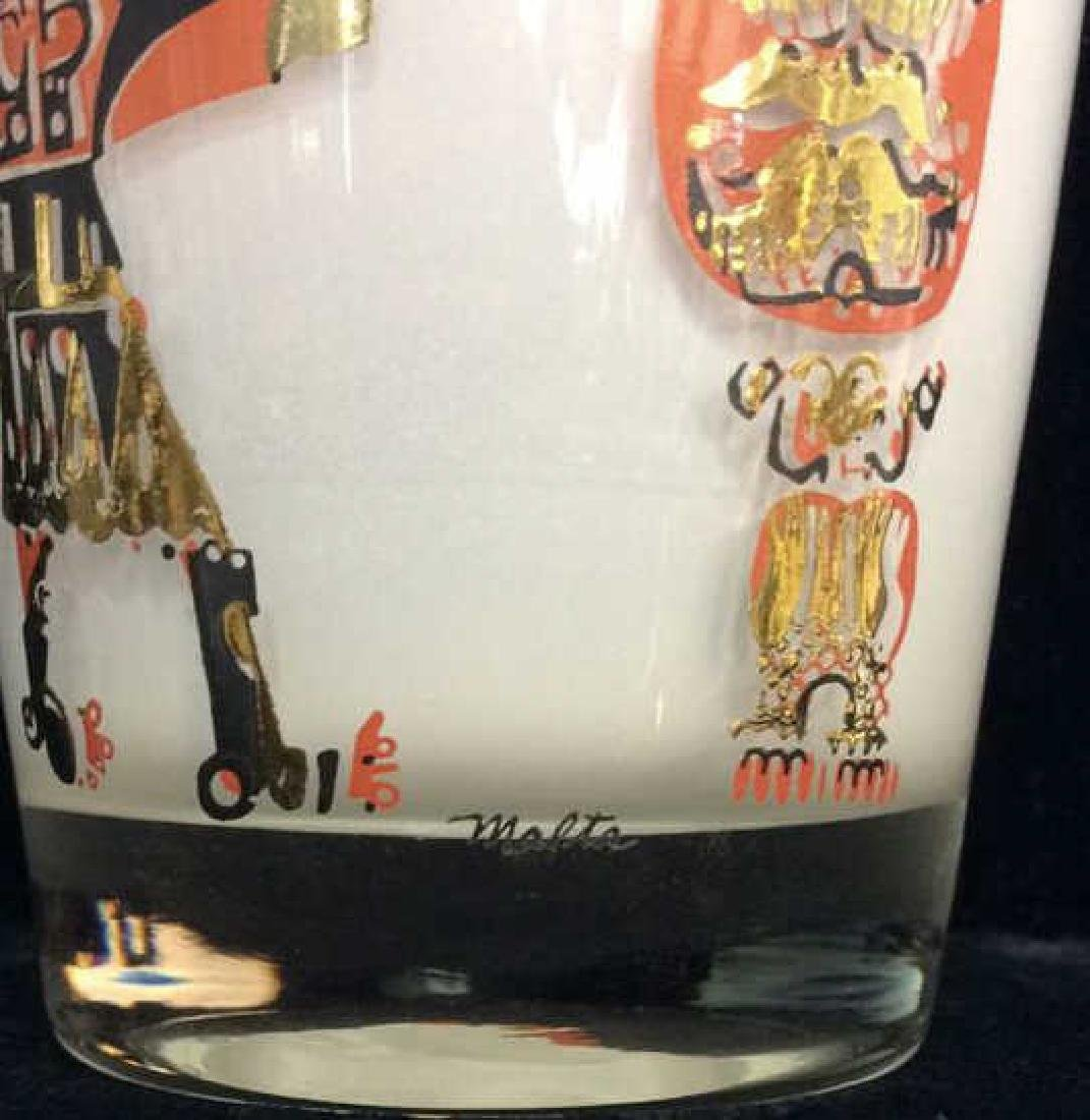 Lot 3 Vintage Painted Drinking Glasses - 8