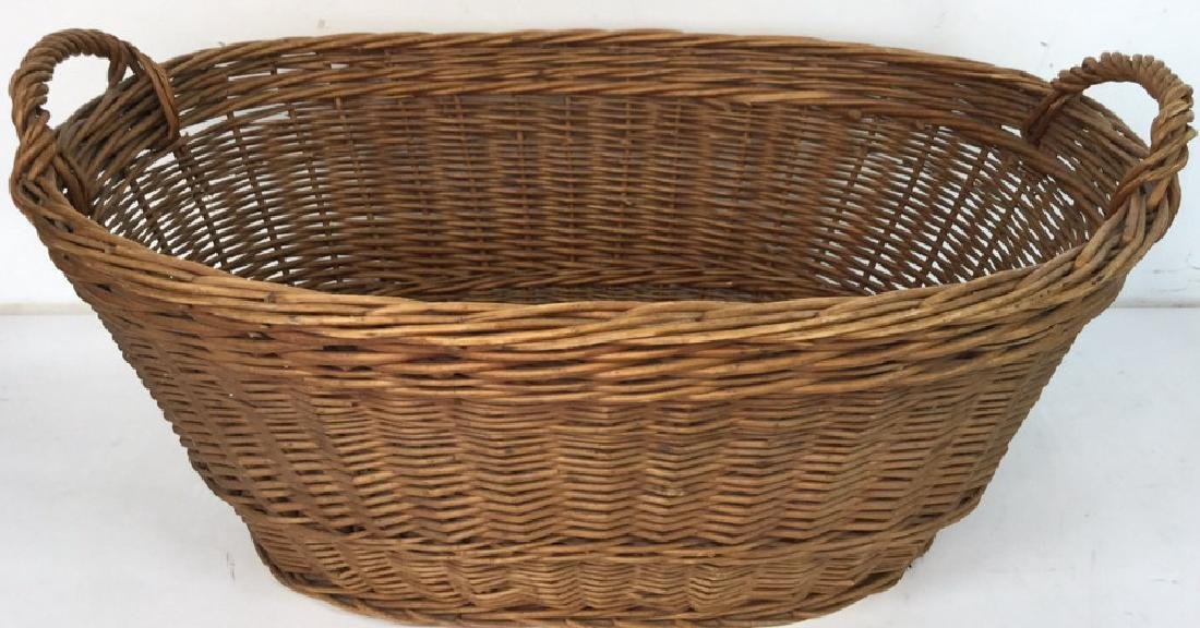 Large Wooden Wicker Basket From Lilian August