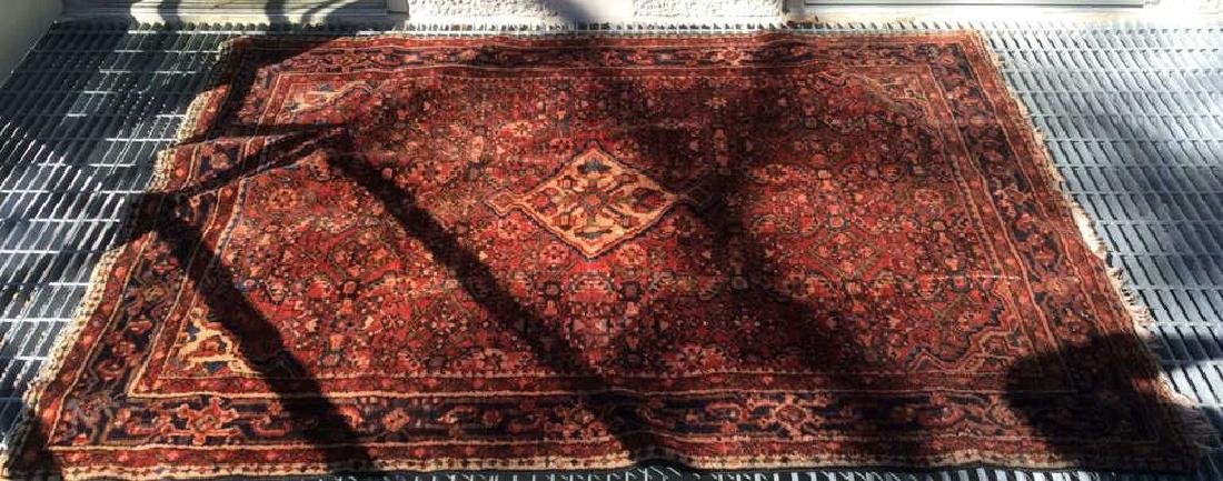 Oriental Wool Carpet Cranberry Toned Fringed Rug - 10