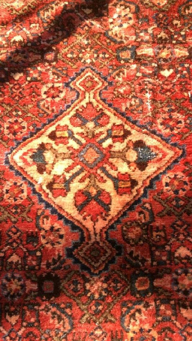Oriental Wool Carpet Cranberry Toned Fringed Rug - 3