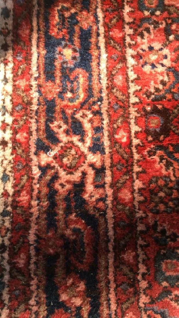 Oriental Wool Carpet Cranberry Toned Fringed Rug - 4