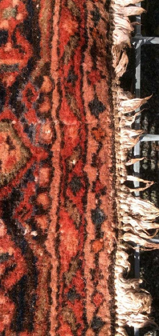 Oriental Wool Carpet Cranberry Toned Fringed Rug - 5