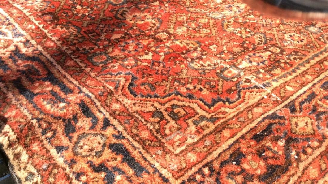 Oriental Wool Carpet Cranberry Toned Fringed Rug - 6