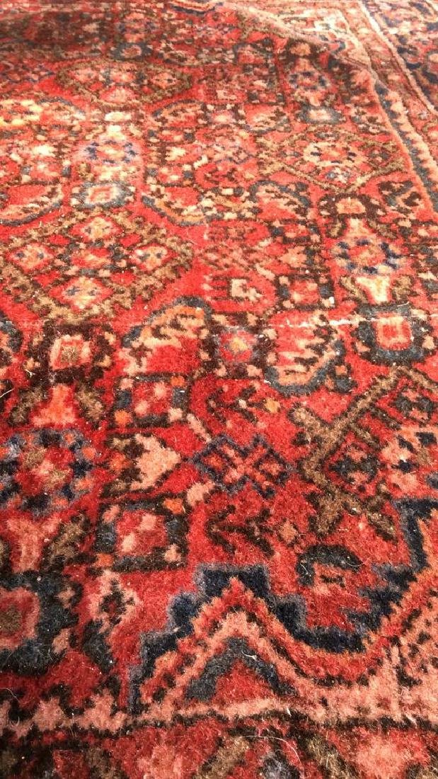 Oriental Wool Carpet Cranberry Toned Fringed Rug - 7