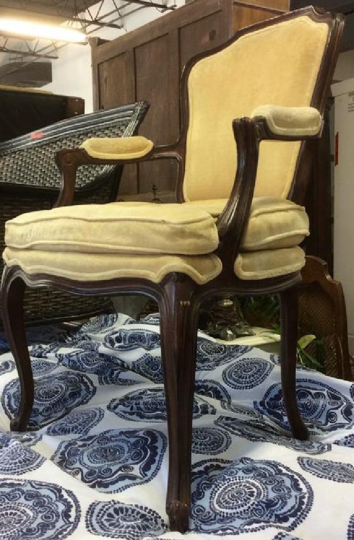 Vintage Wood Framed Armchair W Cushion - 2