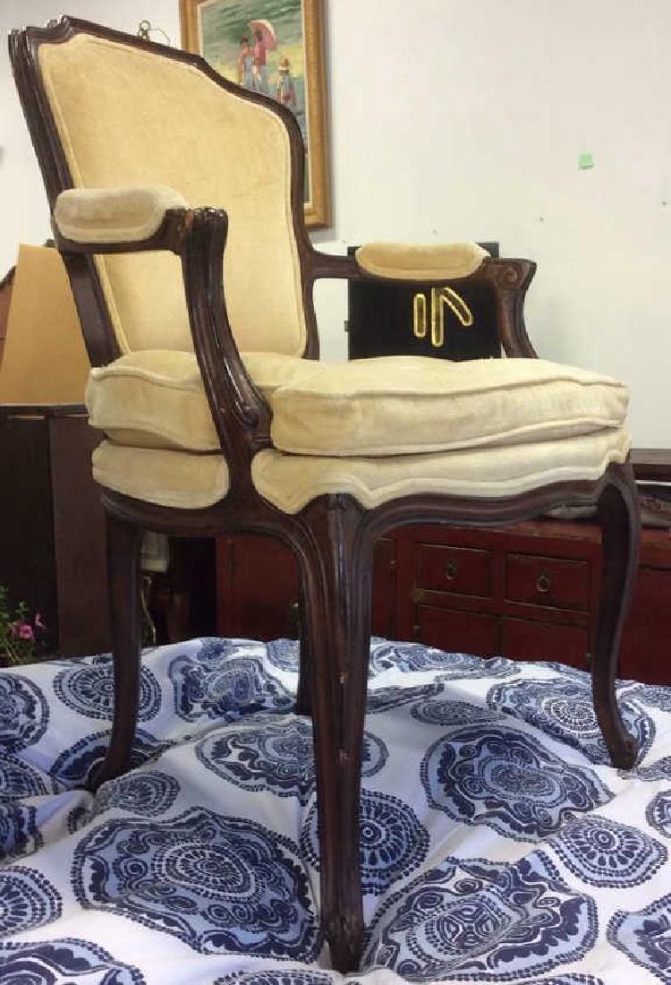 Vintage Wood Framed Armchair W Cushion - 3