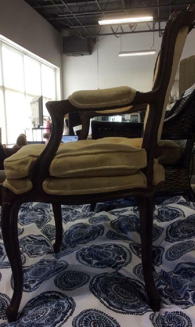 Vintage Wood Framed Armchair W Cushion - 4