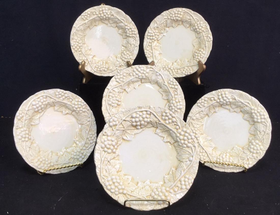 Set 6 Made Italian  Glazed Ceramic Plates Horchow - 2