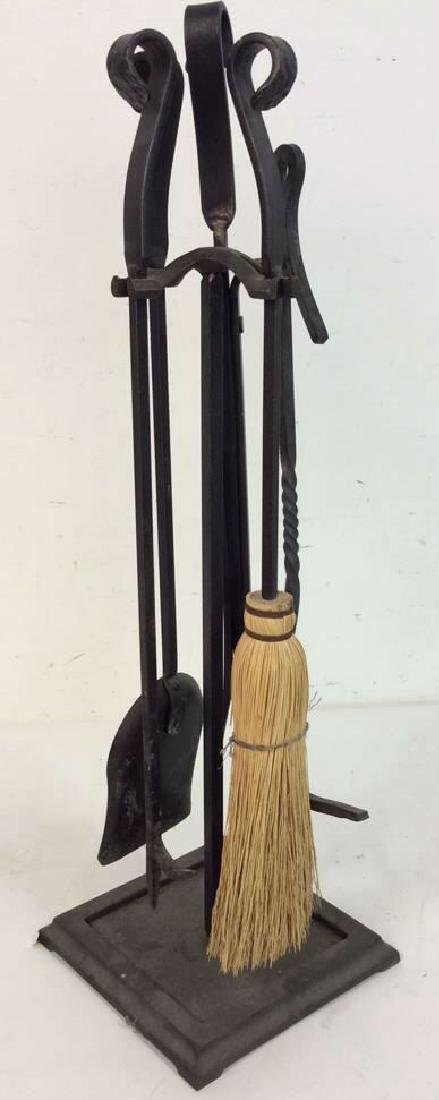 Lot 6 Wrought Iron Fireplace Tools Accessories - 2