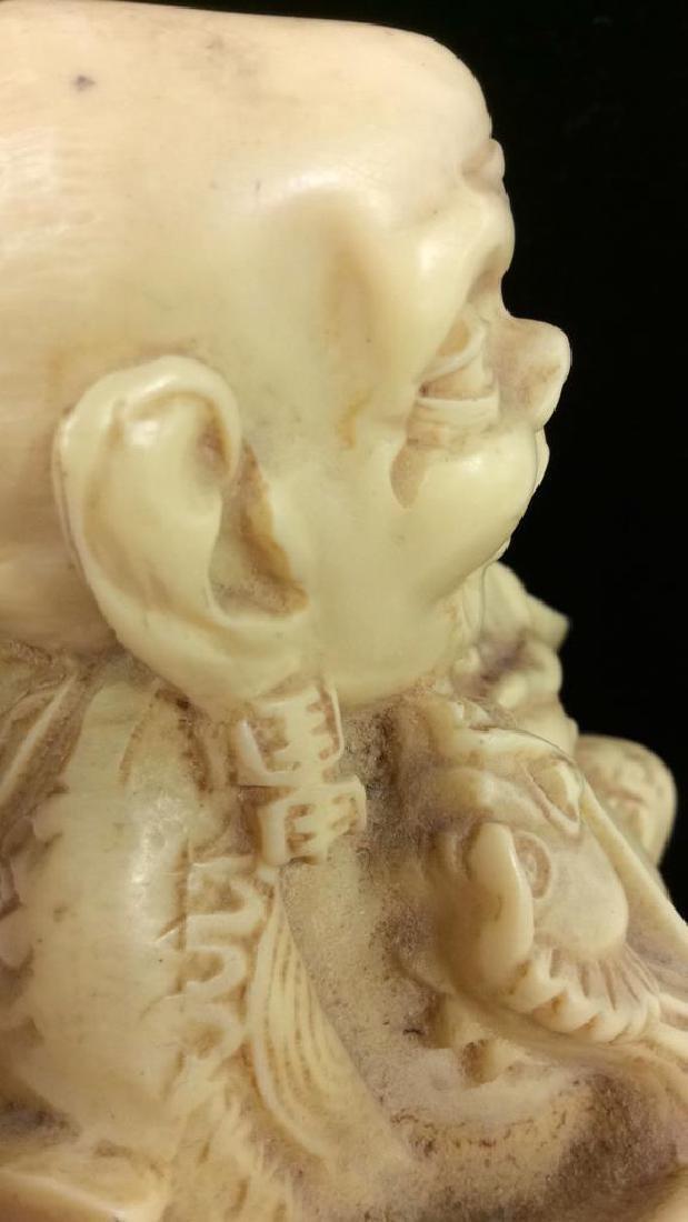 Sieated Oriental Carved Buddha Figure w Dragon - 10
