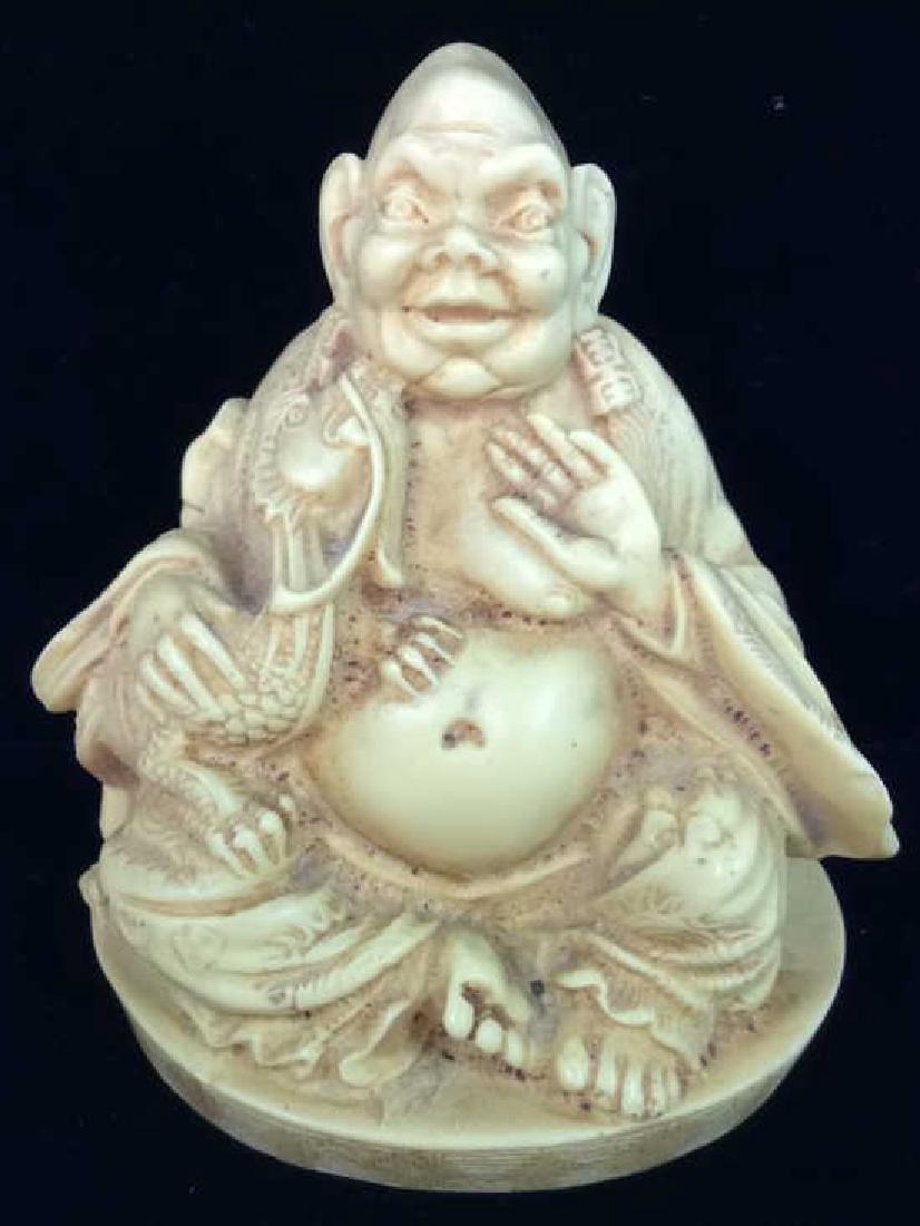 Sieated Oriental Carved Buddha Figure w Dragon