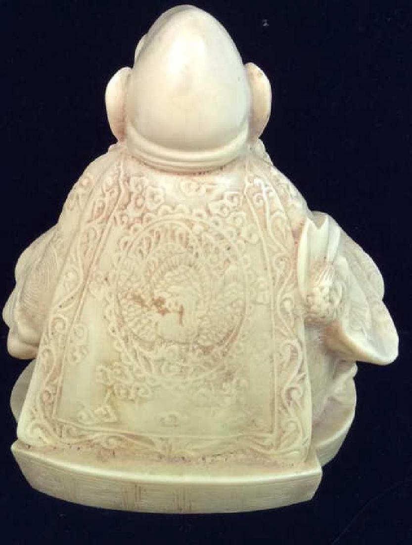 Sieated Oriental Carved Buddha Figure w Dragon - 4