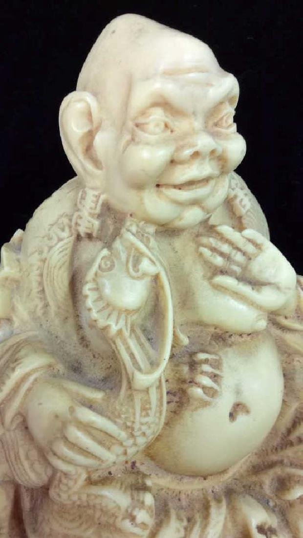 Sieated Oriental Carved Buddha Figure w Dragon - 6