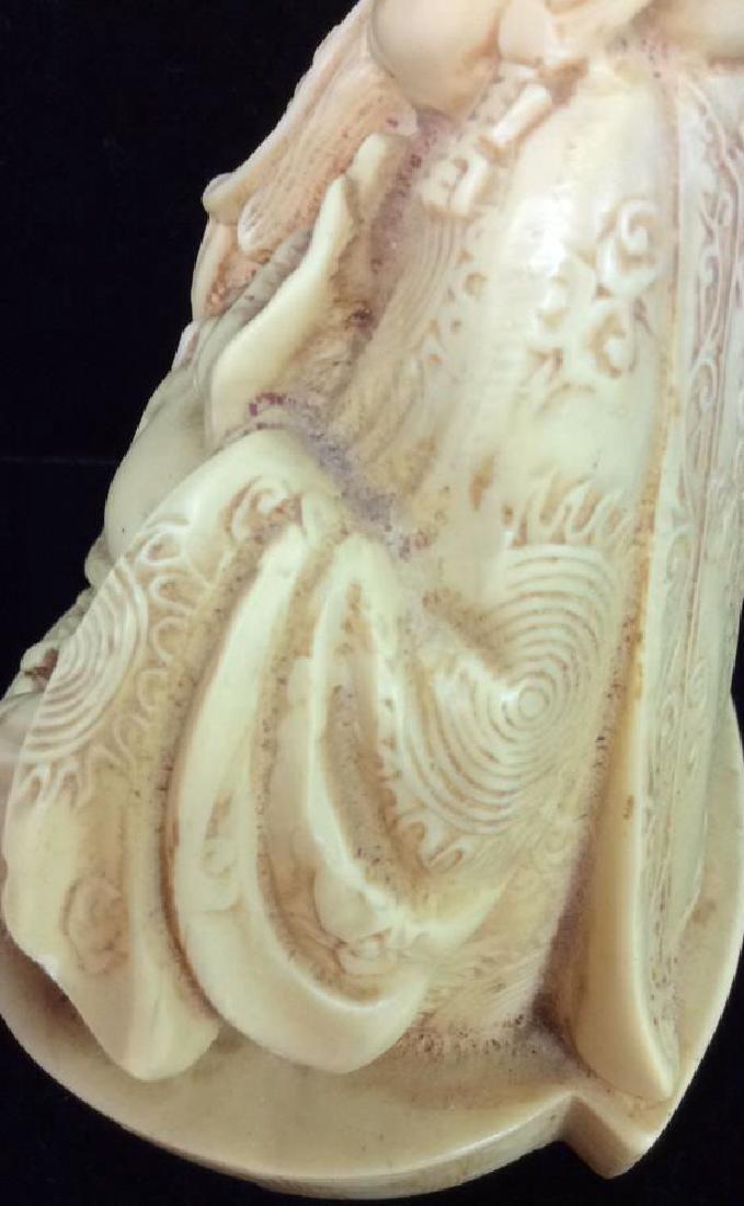 Sieated Oriental Carved Buddha Figure w Dragon - 8
