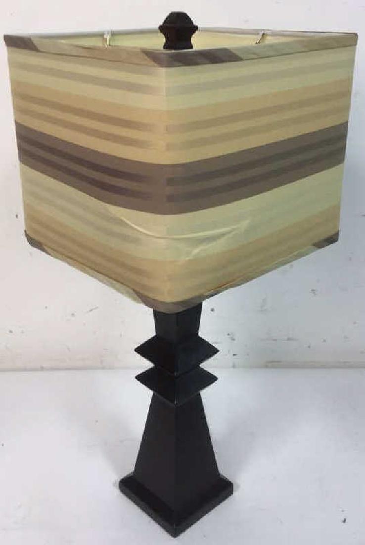 Geometric Shaped Ceramic Table Lamp and Shade - 3