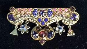 Signed Vintage Costume Jewelry Beaded Pin