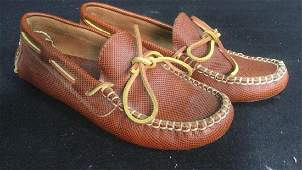 Pair Botega Venetia Leather Moccasin Shoes