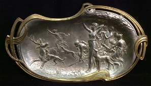 Silver Plated Bronze Art Nouveau Platter