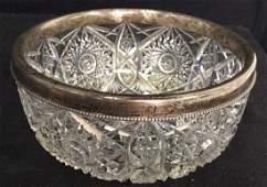 Sterling Rimmed Cut Crystal Bowl