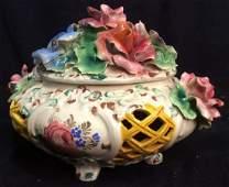 Vintage Capodimonte Lidded Footed Porcelain Bowl