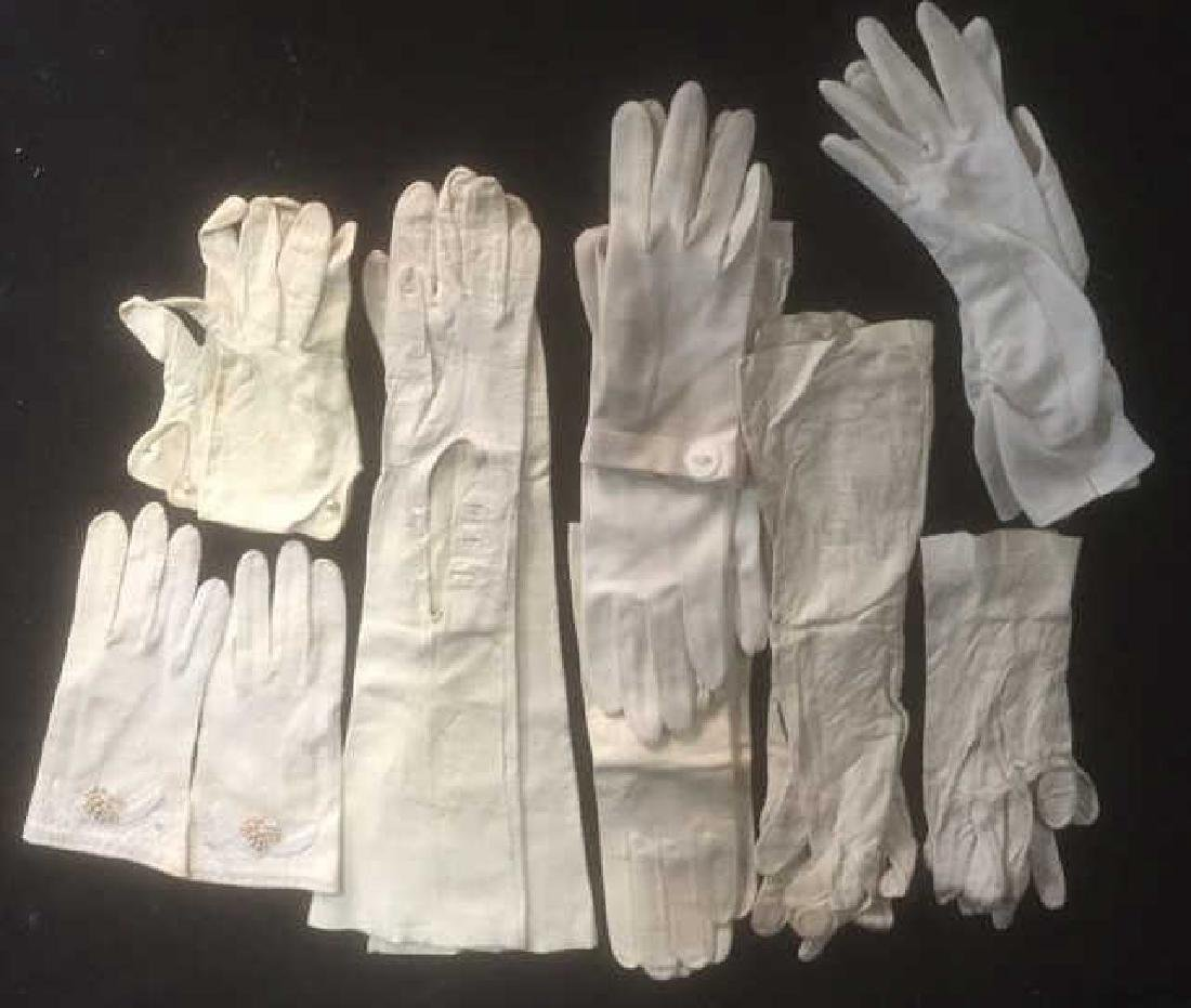 Group Lot 9 Pair Vintage Ladies White Gloves