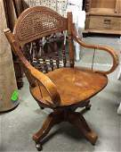 Rolling Carved Wooden Office Desk Chair