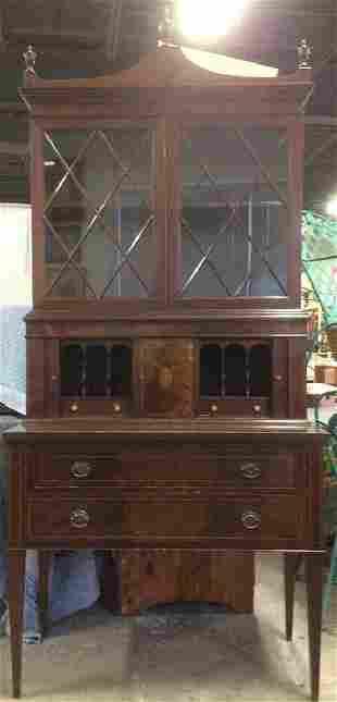 Mahogany Inlaid Bookcase Top Secretary Desk