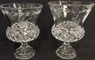 Lot 2 Brilliant Cut Crystal Vases W Nautical Theme