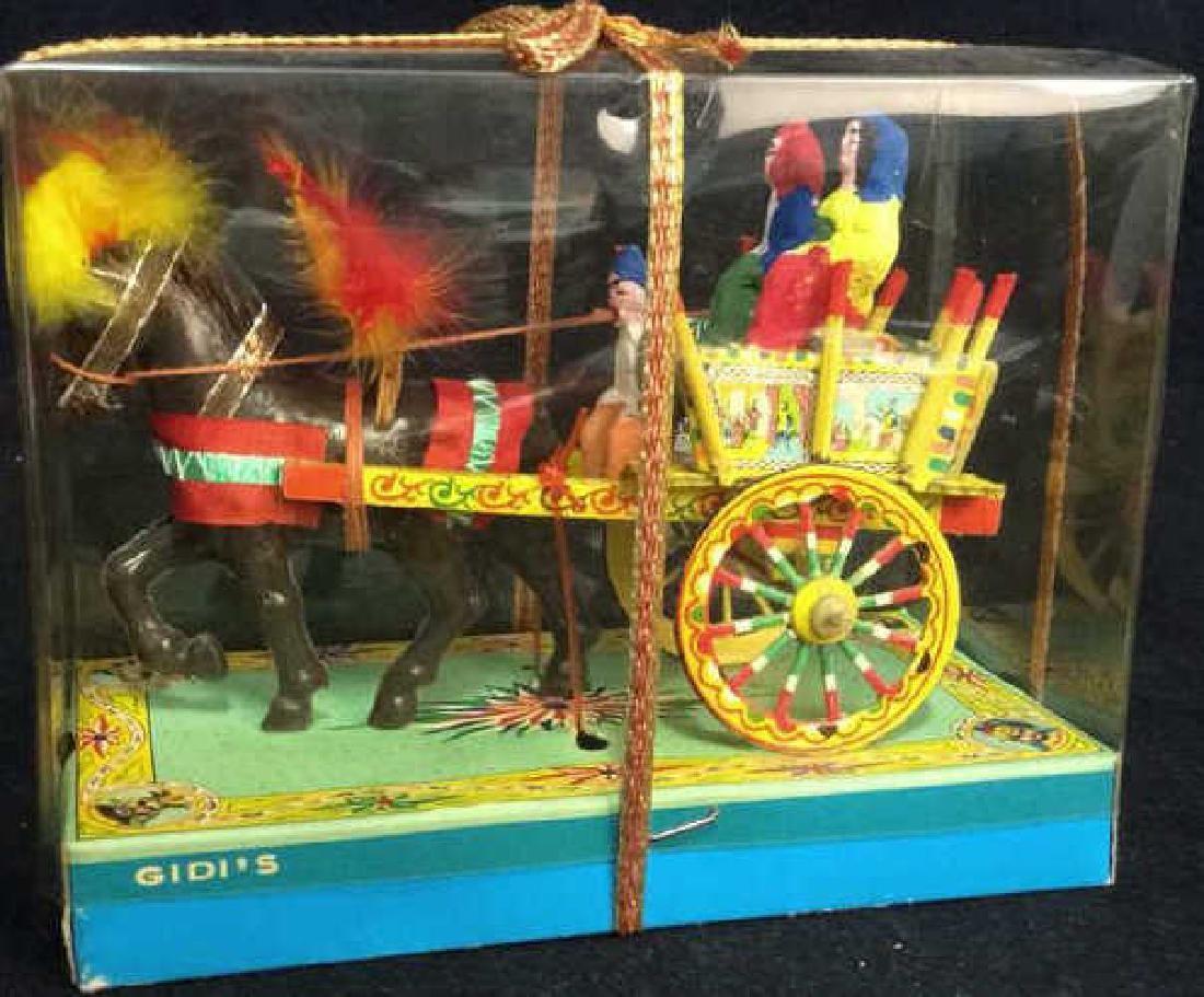 Vintage GIDI'S Ornament Folk Art Horse&Carriage