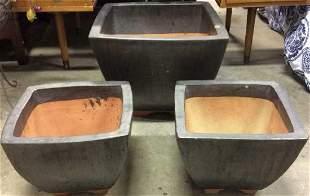 Set of 3 Maude Grey Glazed Planters
