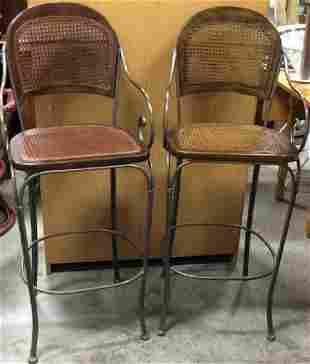 Pair Iron Wood Caned Barstools