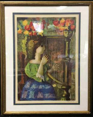 Girl Playing Harp Signed Lithograph