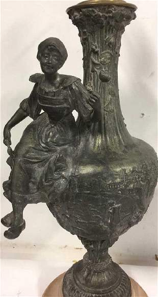 Pair Of Antique French Bronze Spelter Table Lamps