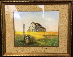 Signed Mixed Media Landscape W House Painting